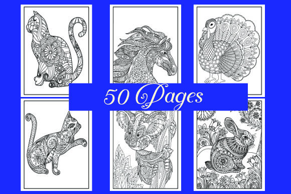 Print on Demand: Animals Mandala Coloring Pages Graphic Coloring Pages & Books Adults By ajubayer555