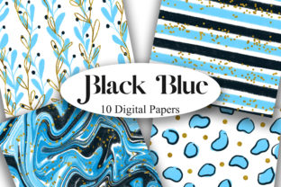 Print on Demand: Black Blue Glitter Digital Papers Graphic Backgrounds By PinkPearly
