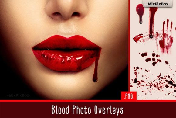 Print on Demand: Blood Photo Overlays Graphic Layer Styles By MixPixBox