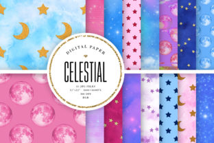 Print on Demand: Celestial Digital Paper - Moon & Stars Graphic Backgrounds By Sabina Leja