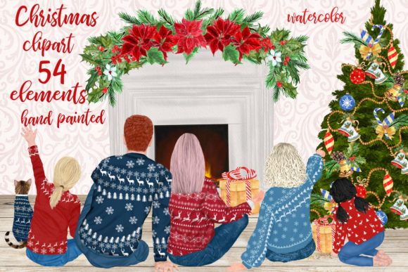 Christmas Family Clipart Sitting Family Graphic Illustrations By LeCoqDesign - Image 1