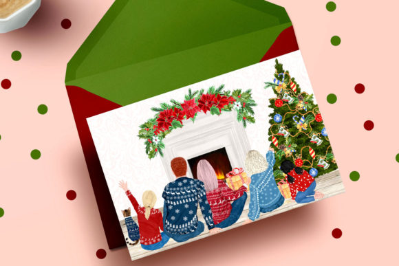 Christmas Family Clipart Sitting Family Graphic Illustrations By LeCoqDesign - Image 5