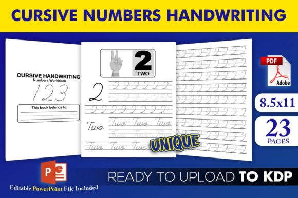 Print on Demand: Cursive Numbers Handwriting Workbook KDP Graphic KDP Interiors By Beast Designer