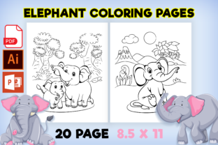 Print on Demand: Cute Elephant Coloring Pages for Kids Graphic Coloring Pages & Books Kids By Fox Design Studio