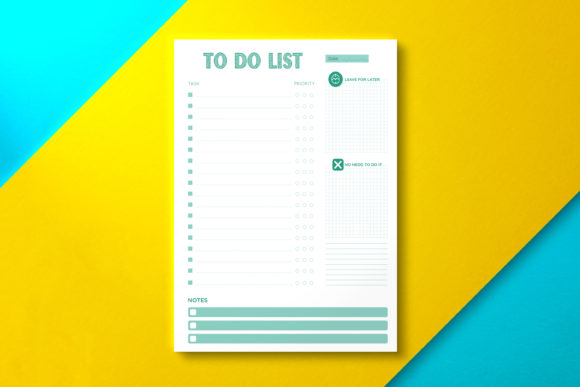 Daily to Do List Paper Green Graphic KDP Interiors By Nickkey Nick