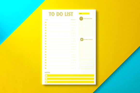 Daily to Do List Paper Yellow Graphic KDP Interiors By Nickkey Nick