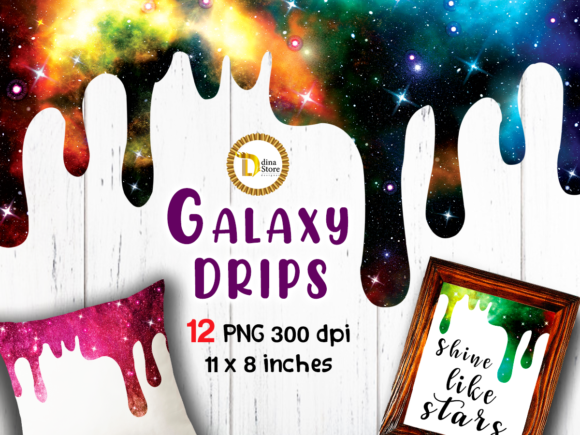 Galaxy Shiny Drips Clipart Sublimation Graphic Crafts By dina.store4art