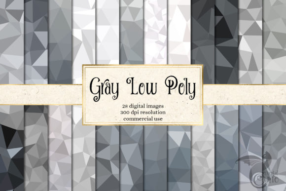 Print on Demand: Gray Low Poly Digital Paper Graphic Textures By Digital Curio
