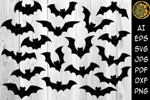 Print on Demand: Halloween Bat Silhouette Clipart Set Graphic Illustrations By V-Design Creator