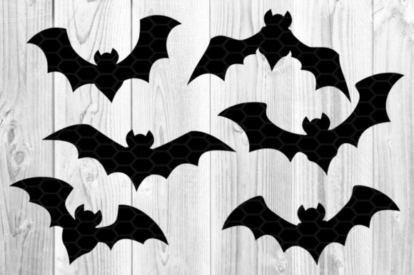 Halloween Bat Silhouette Clipart Set Graphic Preview