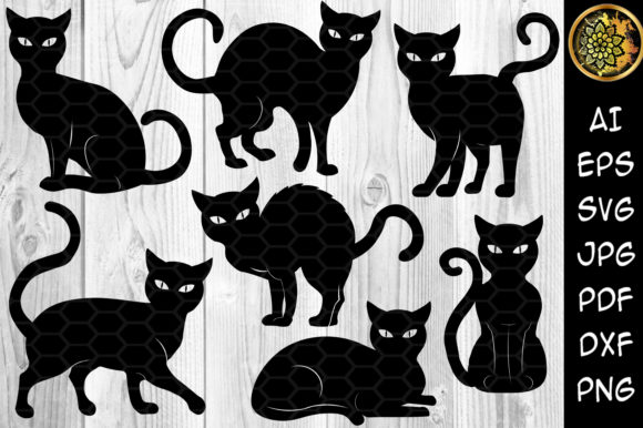 Halloween Cat Silhouette Clipart Set Graphic Illustrations By V-Design Creator