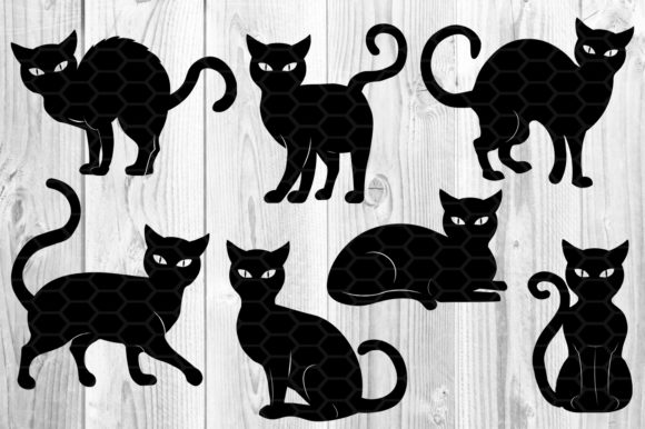 Halloween Cat Silhouette Clipart Set Graphic Download