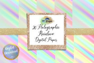 Print on Demand: Holographic Rainbow Digital Papers Graphic Backgrounds By TE Designs
