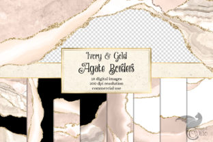 Print on Demand: Ivory and Gold Agate Borders Graphic Textures By Digital Curio