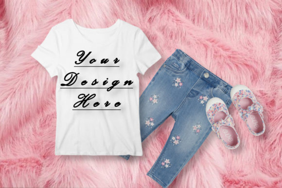 Mockup Baby Girl White T-shirt, Graphic Product Mockups By MockupsByGaby