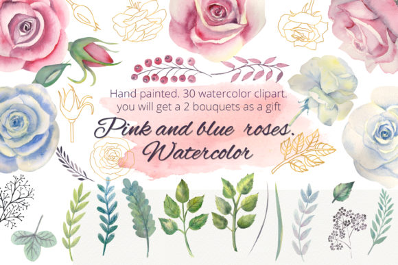 Print on Demand: Pink and Blue Roses. Watercolor Clipart Graphic Illustrations By Natika_art