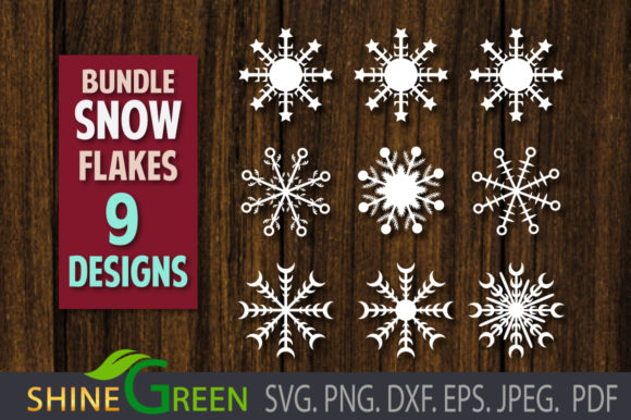 Print on Demand: Snowflakes Bundle - Christmas Winter Graphic Crafts By ShineGreenArt
