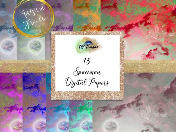 Print on Demand: Spaceman Digital Papers Graphic Backgrounds By TE Designs