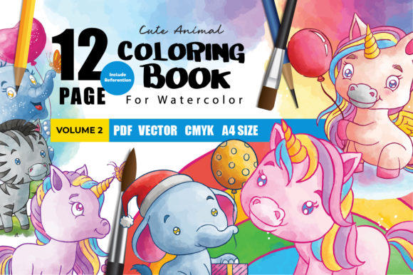 Unicorn Watercolor Coloring Book Graphic Coloring Pages & Books Kids By Daengdesign