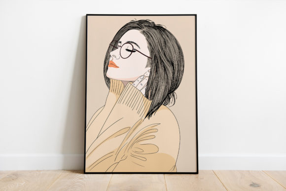 Print on Demand: Wall Art Girl Feels Happy Waking Up Graphic Illustrations By Saydung89