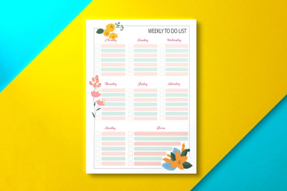 Weekly to Do List Paper Summer Graphic KDP Interiors By Nickkey Nick