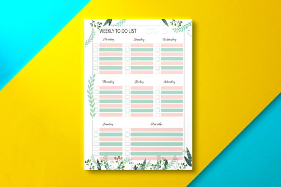Weekly to Do List Sheet Tropical Graphic KDP Interiors By Nickkey Nick