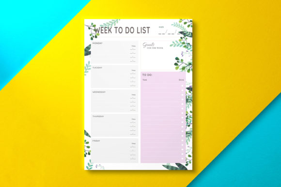 Weekly to Do List Sheet Summer Graphic KDP Interiors By Nickkey Nick