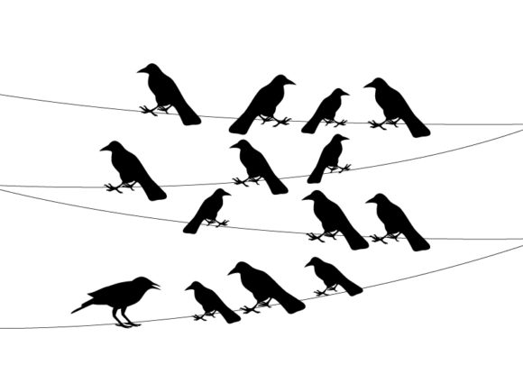 A Flock of Crows on a Wire Graphic Icons By ekimova_lisa