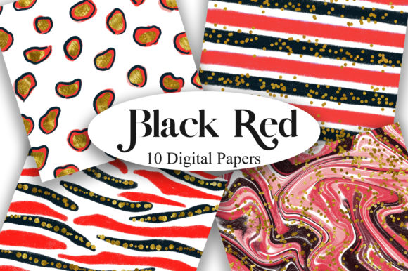 Black Red Glitter Digital Papers Graphic Backgrounds By PinkPearly