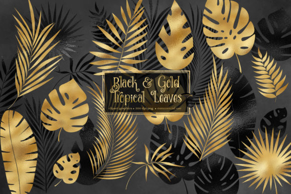 Print on Demand: Black and Gold Tropical Leaf Clipart Graphic Illustrations By Digital Curio