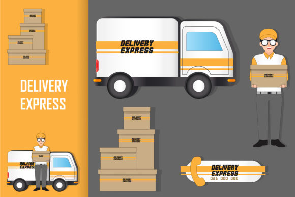 Cartoon Delivery Graphic Business By lastroll studio
