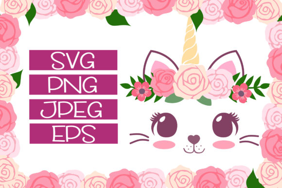 Print on Demand: Caticorn Floral Fun Designs Graphic Illustrations By JM_Graphics