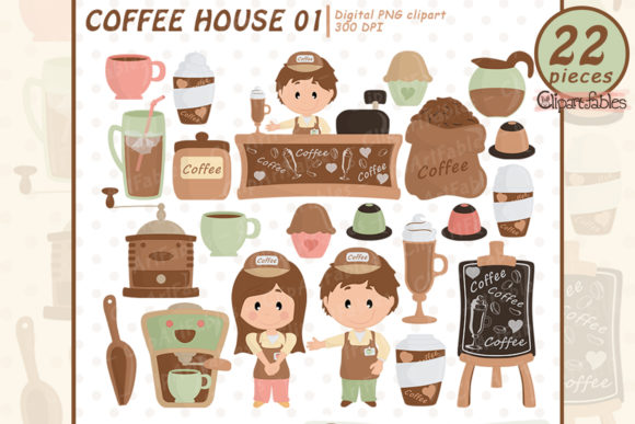 Coffee Clipart, Coffee Shop  Graphic Illustrations By clipartfables