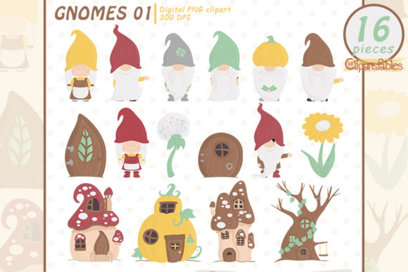 Cute Gnome Clipart, Woodland Clip Art Graphic Illustrations By clipartfables
