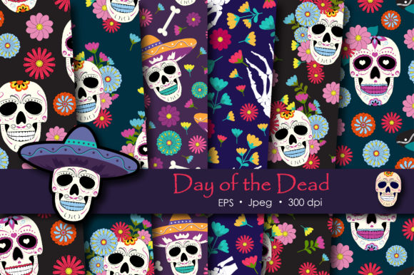 Print on Demand: Day of the Dead Sugar Skull Pattern Graphic Patterns By jannta