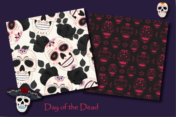 Print on Demand: Day of the Dead Sugar Skull Pattern Graphic Patterns By jannta - Image 2