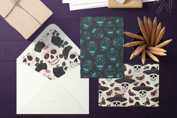 Print on Demand: Day of the Dead Sugar Skull Pattern Graphic Patterns By jannta - Image 6