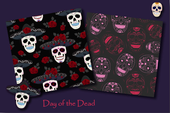 Print on Demand: Day of the Dead Sugar Skull Pattern Graphic Patterns By jannta - Image 3