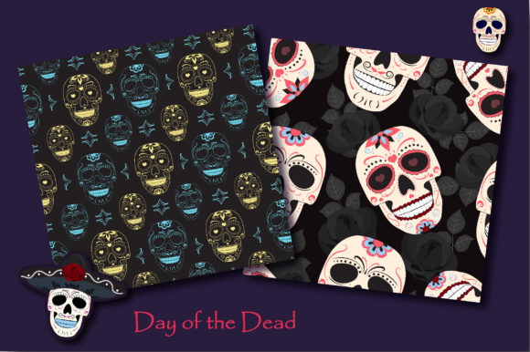 Print on Demand: Day of the Dead Sugar Skull Pattern Graphic Patterns By jannta - Image 4