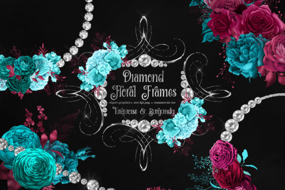 Print on Demand: Diamond Floral Frames Clipart Graphic Illustrations By Digital Curio