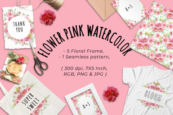 Print on Demand: Flower Pink Watercolor Clipart Graphic Illustrations By OrchidArt