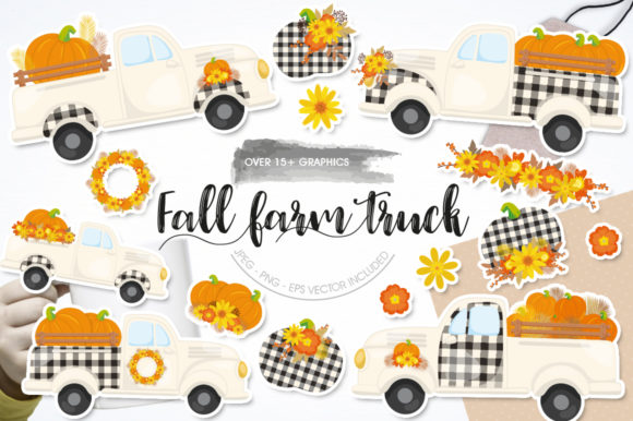 Print on Demand: Fall Farm Truck Graphic Graphic Templates By Prettygrafik