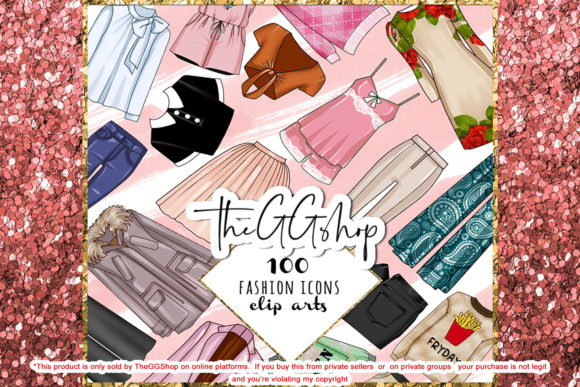 Print on Demand: Fashion Clipart Bundle Set Graphic Illustrations By TheGGShop