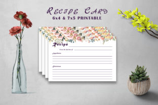 Print on Demand: Flowery Recipe Card Printable V32 Graphic Print Templates By Creative Tacos
