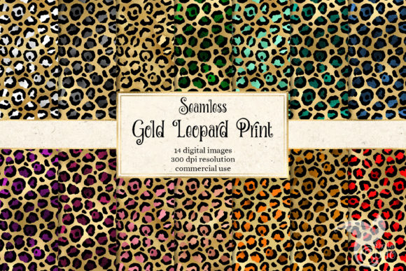 Print on Demand: Gold Leopard Print Digital Paper Graphic Backgrounds By Digital Curio