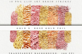 Gold & Rose Gold Metallic Brush Strokes Graphic Objects By liquid amethyst art