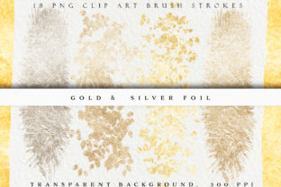 Gold & Silver Metallic Brush Strokes Graphic Objects By liquid amethyst art