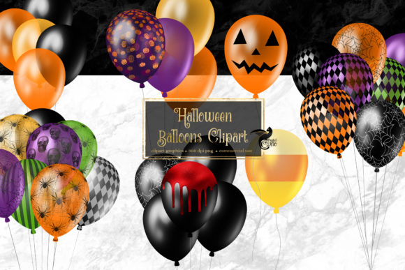 Print on Demand: Halloween Balloons Clipart Graphic Illustrations By Digital Curio