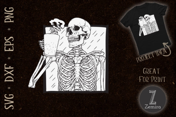 Print on Demand: Halloween Coffee Drinking Skeleton Skull Graphic Print Templates By Zemira