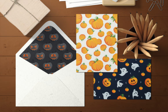 Print on Demand: Halloween Pumpkins and Ghost Pattern Graphic Patterns By jannta - Image 5